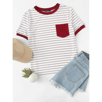 Red Patch Pocket Striped Ringer Tee