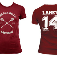 Beacon Hills Lacrosse CRS Lahey 14 Isaac Lahey on Women tee Maroon on Maroon Women tee