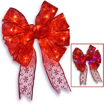 """9"""" Red Bow Tree Topper with Dual Color LED Lights"""