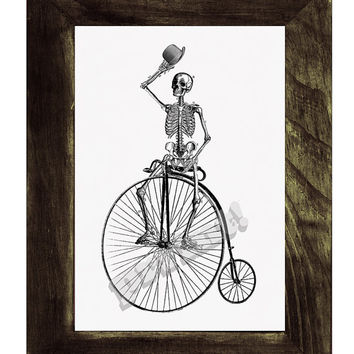 Skeleton on a bike.Funny  Anatomy  Print- Anatomy skeleton Art  -collage Anatomy Art -skeleton poster print
