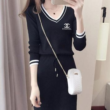 ONETOW Chanel' Casual Fashion Knit Long Sleeve Letter Multicolor Stripe V-Neck Mini Dress