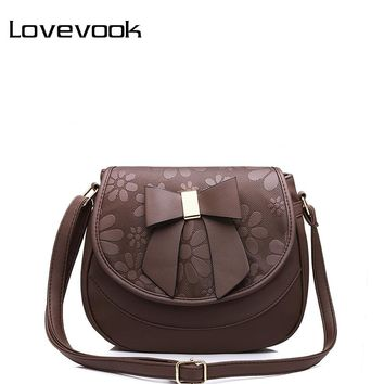 LOVEVOOK brand women shoulder crossbody bag female saddle bag with a bow PU fashion ladies messenger bags small new spring 2017