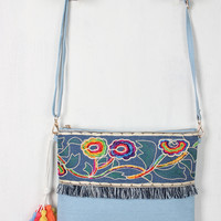 Embroidered Floral Threaded Fringe Denim Bag