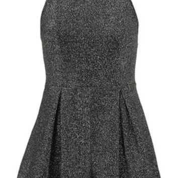 PETITE Exclusive Lurex Playsuit - Silver