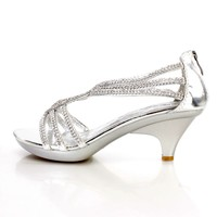 Silver Rhinestone Detailing Open Toe Heels Faux Leather