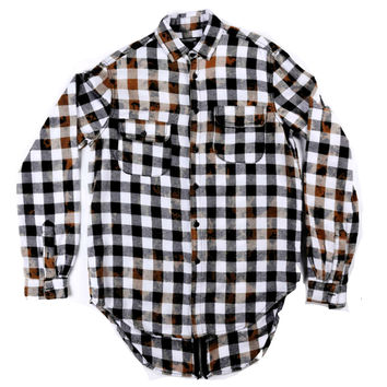Back Zip Button Up In Bleached Black White Plaid