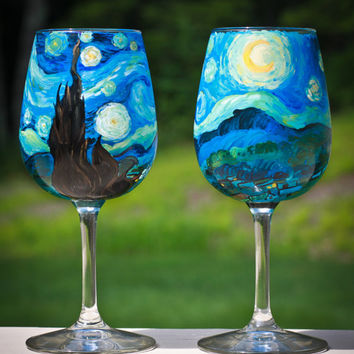 Starry Night Wine Glasses: Set of Two Van Gogh Inspired Hand Painted Wine Glasses