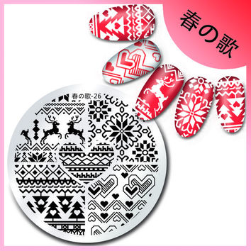 Christmas Stainless Steel Stamping Template Heart Deer Design Round Nail Stamping Plate Manicure Nail Art Plate Harunouta-26