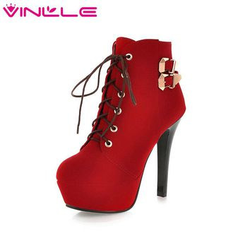 VINLLE Western Style Women Shoes Platform Shoes Women Square High Heel Ankle Boots Flock Ladies Motorcycle Boots Big Size 11 12
