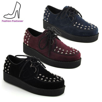 LADIES PLATFORM BROTHEL LACE UP WOMENS FLAT STUD SPIKE CREEPERS GOTH PUNK SHOES