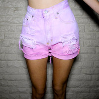 High Waisted, Pink and Light Purple Ombre Pastel, Distressed Denim Cutoff Shorts