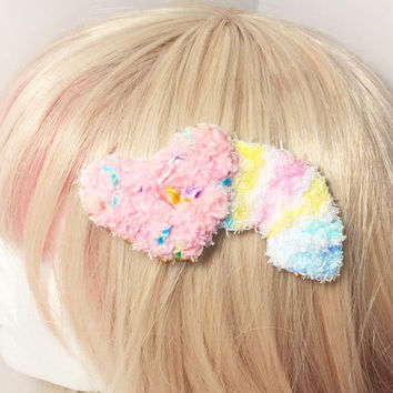 Kawaii Fairy Kei Spank Pop Kei Decora Lolita Harajuku Pastel Goth Shooting Heart Rainbow Fuzzy Hair Clip Brooch
