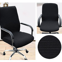 BTSKY Offce Computer Chair Covers Stretchy -Polyester Desk Chair / Rotating Chair Cover Large Size (Black) Black