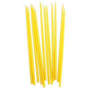 Tall Yellow Hand Dipped Birthday Candles