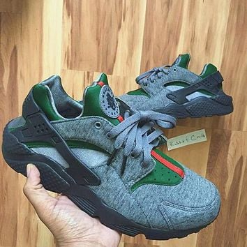 Nike Gucci Drops the Air Huarache Ultra Sports shoes Gray&green H-AA-SDDSL-KHZHXMKH