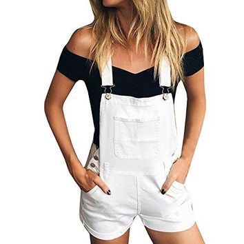 Women's Rompers Shorts Jumpsuit Ivory Bib Overall Shorts Summer fashion solid color