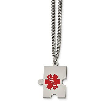 Stainless Steel Puzzle Piece Medical Pendant Necklace 20in