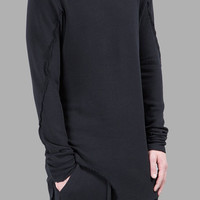 2016 Dark Men's Wide Round Neck Asymmetric Raw Cut Seam Detail Sweaters Hoodie