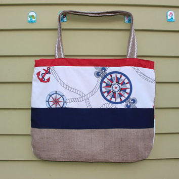 Burlap Beach Tote Large Beach Bag Nautical Beach Bag Shabby Chic Beach Bag Custom made Beach Bag