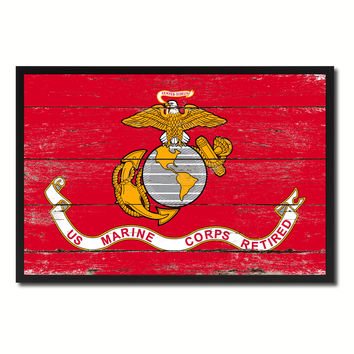 US Marine Corps Retired Military Flag Vintage Canvas Print with Picture Frame Home Decor Man Cave Wall Art Collectible Decoration Artwork Gifts