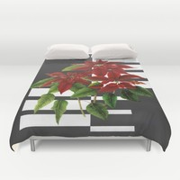 vintage poinsettia on modern background Duvet Cover by Clemm