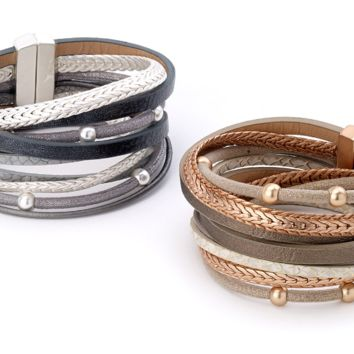 Beads and Snake Wrap Leather Bracelet