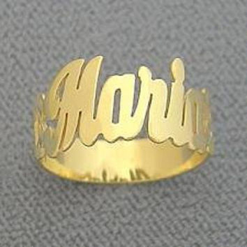 Personalized 14k gold overlay any name ring Gift round