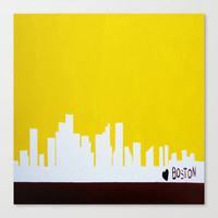 Boston Love Stretched Canvas by Michelle Silsbee