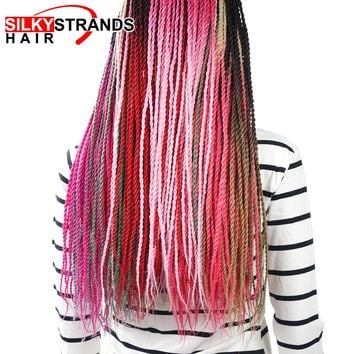 Silky Strands Ombre Kanekalon Braiding Hair Senegalese Twist Crochet Hair Extensions Pink Blonde Grey Synthetic Crochet Braids