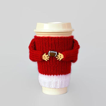 Coffee cozy. Alabama college football. Tumbler sleeve. Red white football.Travel mug sleeve. Mug sweater. Funny mug. Football gift.