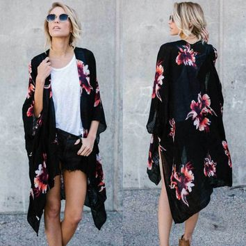 Women Boho Floral Print Kimono open front Long Sleeve Cardigan Top Blouse Shirt