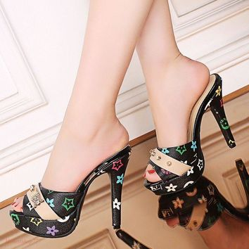 Fashion 18 Women Lady High Stiletto Chic Pull On Peep Toe Slipper Shoes Sandals