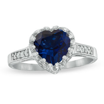 8.0mm Heart-Shaped Lab-Created Blue Sapphire and White Topaz Crown Ring in Sterling Silver