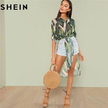SHEIN Boho Tropical Print Button Women Long Shirts Fashion Beach Vacation Rolled Up Long  Sleeve Knot Asymmetrical Hem Blouses
