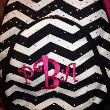 BRAND NEW Black and White Chevron Backpack with Rhinestones