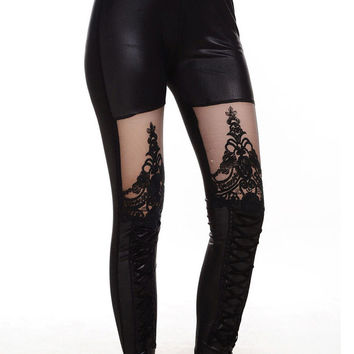 Black Sheer Lace Cut-Out Faux Leather Leggings