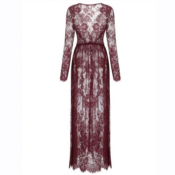 Women V-Neck Long Sleeve Lace Maxi See-through Beach Cover Up Dress