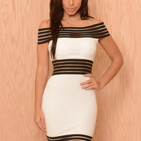White Off Shoulder Striped Mesh Bodycon Mini Dress