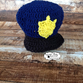 Crochet Construction Hat Newborn - Ready to Ship