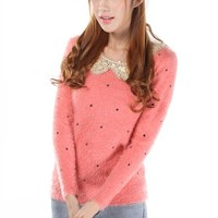 Red Polka Dot Sequin Peter Pan Collar Pullover Sweater