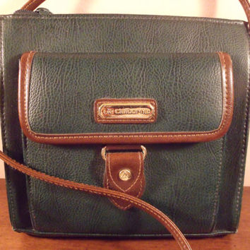 "Vintage women purse/ Liz Claiborn purse/ green purse/ free hands purse/ purse with long brown handle/7.5""x7.5""x2"" purse"