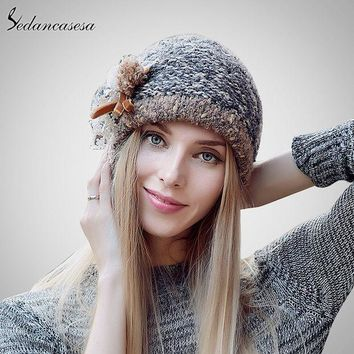DCCKWQA Sedancasesa New Autumn And Winter Female Bucket Hat Hot Selling The Knitting Ball Cap Hat Casual Outdoor Cap For Women AA140005B