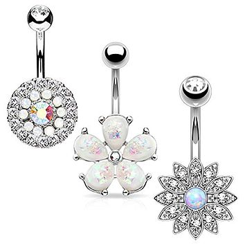 BodyJ4You 3PCS Belly Button Ring Set Jeweled Created-Opal Shield 14G Surgical Steel Curved Navel Barbell
