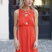 Bright Red Dress with Cut Out Neckline-$75.00 | Hand In Pocket Boutique
