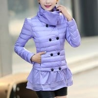 Elegant Layered Down Jacket Turtleneck Collar YRB0387