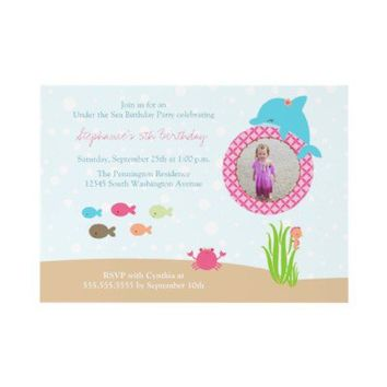 Cute under the Sea girls birthday party invitation from Zazzle.com