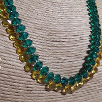 Green and Sunflower Swarovski Crystal Necklace and Earrings Set