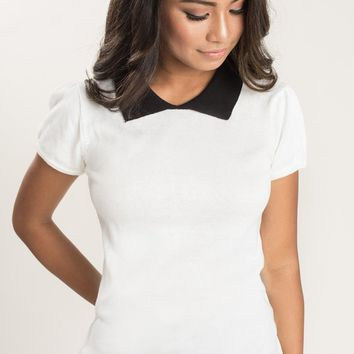 Marcella Ivory Collared Sweater Top