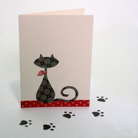 Siamese Cat Card Set of 4 handcut by TheOwlandtheEnvelope on Etsy