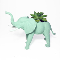Up-cycled Sea Glass Elephant Planter